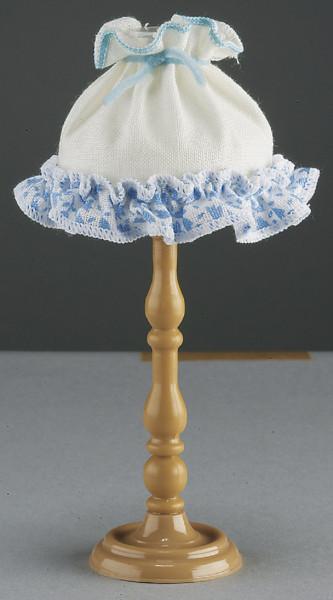 Puppenhaus Miniatur Stehlampe 3,5V, Fuß aus Kunststoff mit Stoffschirm