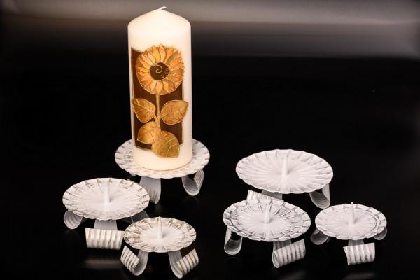Kerzenleuchter Eisen m. Dorn weiß-gold/weiß-silber