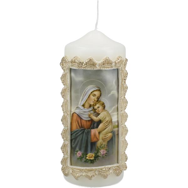 Motivkerze, Kerze Mutter Gottes, goldener Rahmen