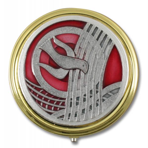 Metalletui Taube rund goldfarben 5,5 cm, 61/260