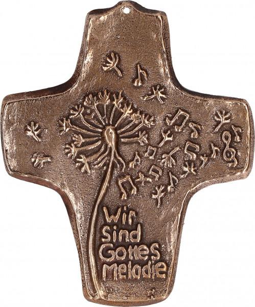 Kommunionkreuz Bronze - wir sind Gottes Melodie