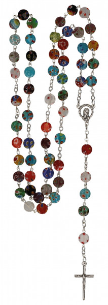 Rosenkranz gekettelt - Millefiori-Perlen bunt