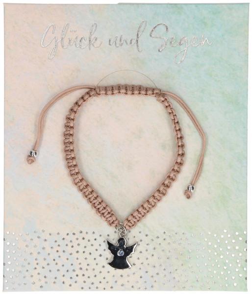 geknüpftes Armband - Glück und Segen, mit Engel