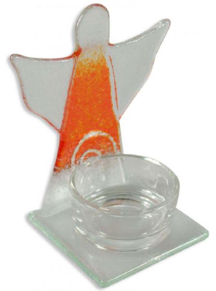 Glas-Teelichthalter Glasengel Spirale orange/weiß