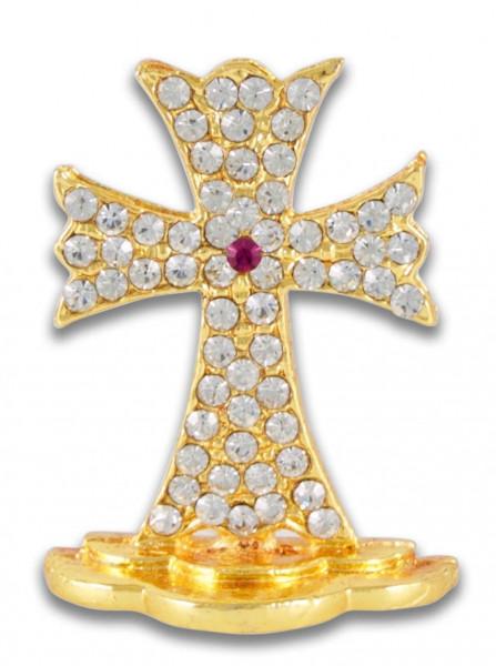 Mini Metall Stehkreuz goldfarben mit Glassteinchen