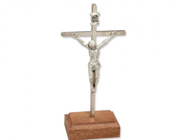 Stehkreuz Metall, Kreuz mit Körper, Sockel aus Holz