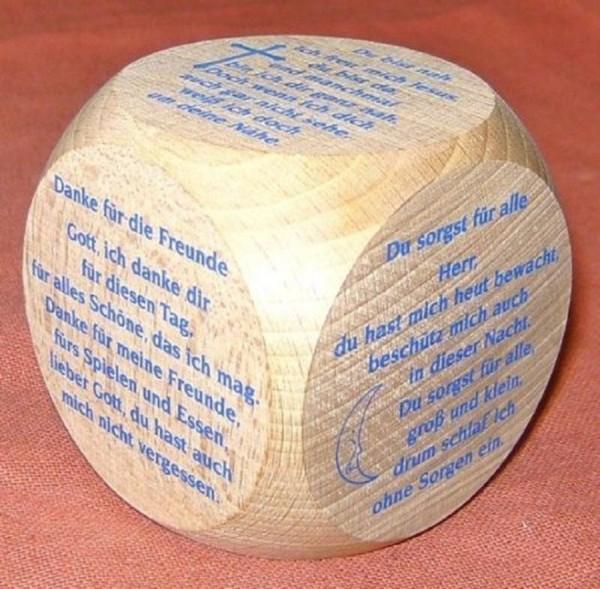 Gebetswürfel Kindergebete, Holz Würfel natur, Devotionalien