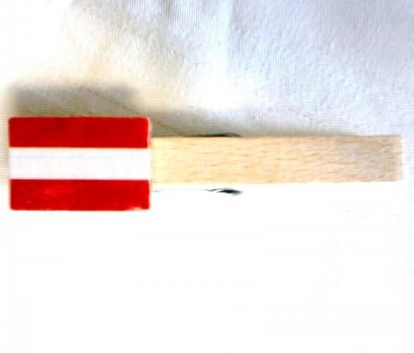 Holzklammer mit Flagge Österreich, Holzapplikation