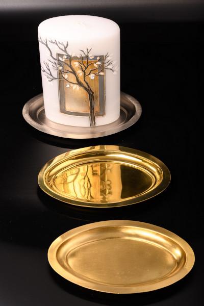 Kerzenteller Messing poliert-matt oder vernickelt, oval