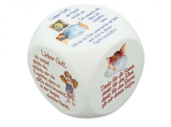Gebetswürfel Holz weiß lackiert Engelgebete bemalt