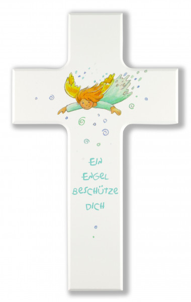 Kinderkreuz, weiß Ein Engel beschütze Dich