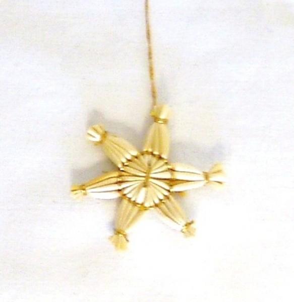 Strohstern 4cm Stern 6 zackig mit Goldfaden, Baumschmuck