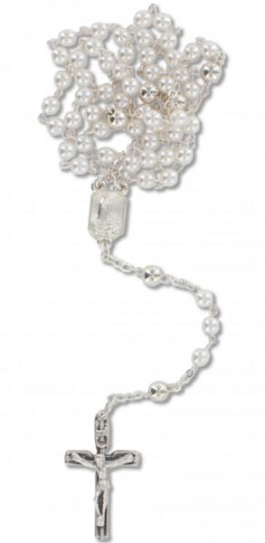 Rosenkranz gekettelt - weiße Glasperlen Metallkreuz