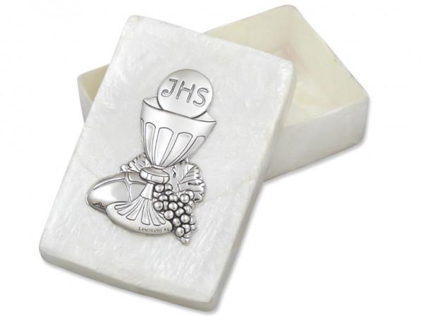 Rosenkranzdose echt Perlmutter Kelch Silber 7,5x5
