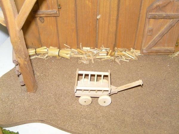 Miniatur, Holz Leiterwagen 6x4,5x3,5cm, Krippenzubehör