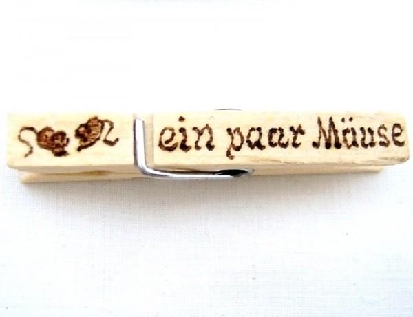 Wiesnglupperl Holzklammer mit Motiv Mäuse, einseitig