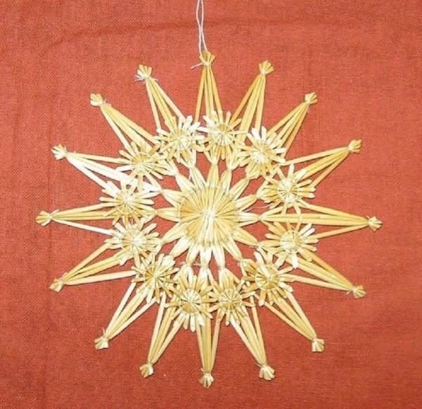 Strohstern 15cm Stern mit Naturfaden, Stroh Baumschmuck