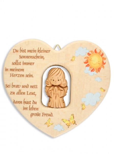 Herz aus Holz mit Tonengel, Du bist mein kleiner..