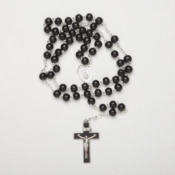 Rosenkranz - schwarze Holzperlen, Kreuz 35005