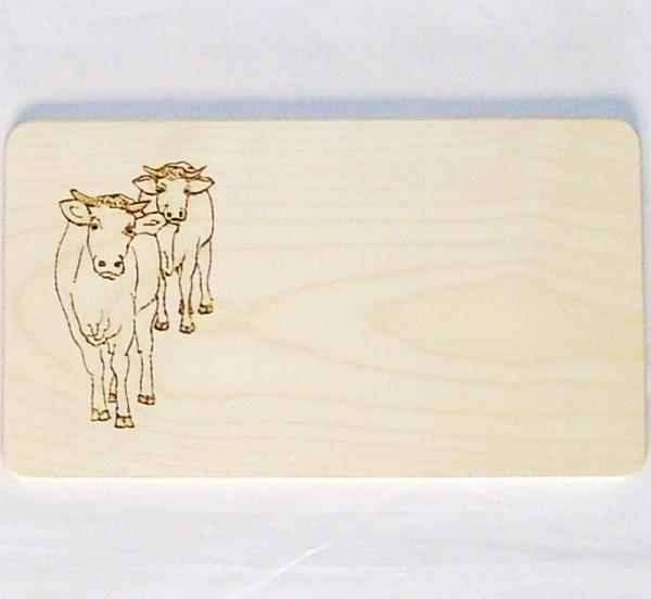 Frühstücksbrettchen kleines Schneidebrett 13x23cm Motiv Kühe