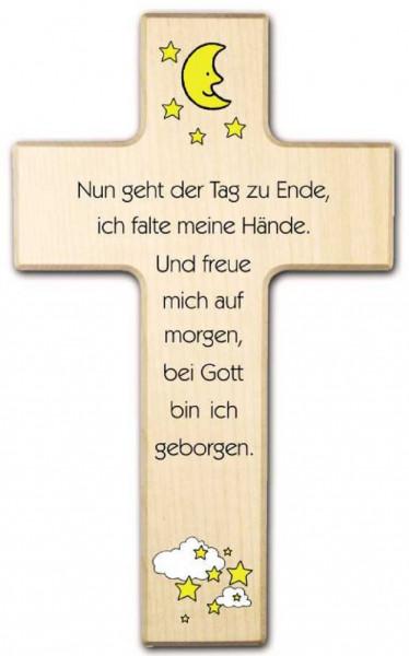 Kinderkreuz Holz Motiv, Nun geht der Tag zu Ende...