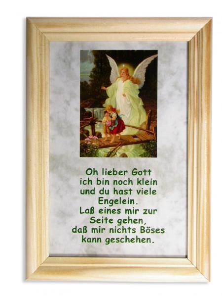 Holzbild Schutzengel, Spruch heller Rahmen 17x12