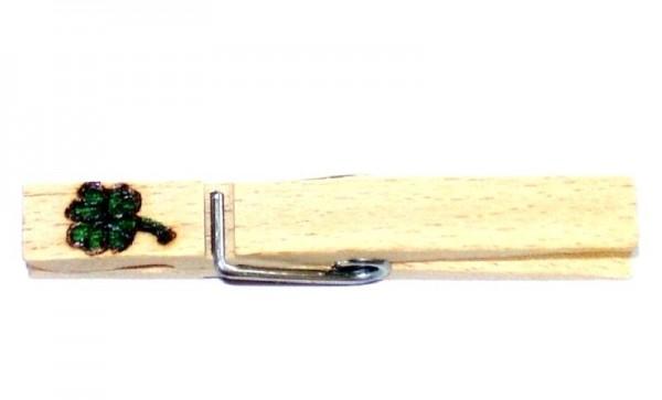 Wiesnglupperl Holzklammer mit Motiv Kleeblatt, einseitig
