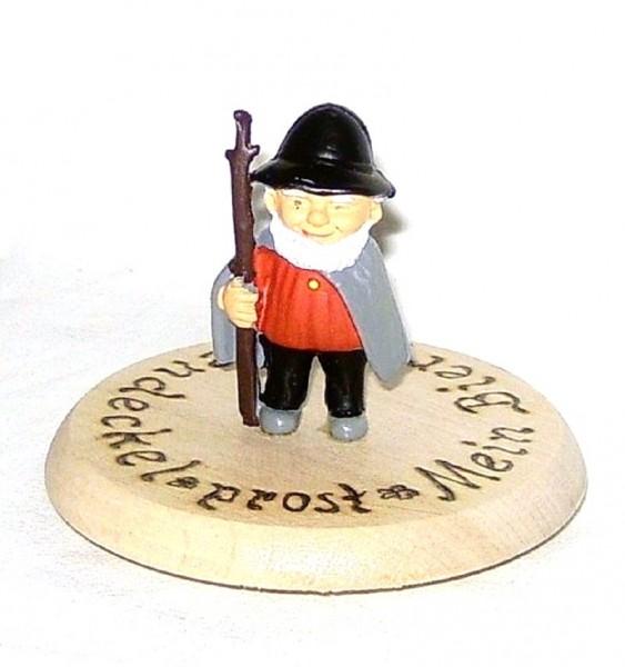 Bierdeckel aus Holz mit Spruch u. Figur Schäfer Plastik