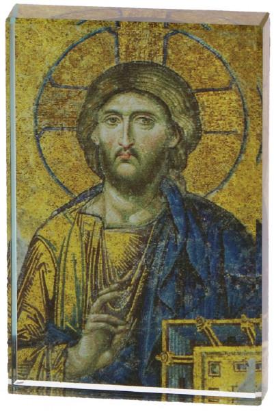 Glasquader mit Motiv Christus zum aufstellen
