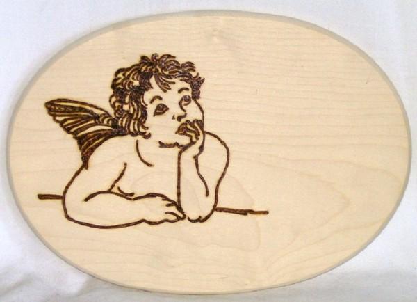 Brotzeitbrett Holz oval 18x26cm Brandmalerei Motiv Engel 019