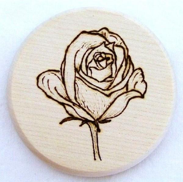 Bierdeckel Holz, Brandmalerei Motiv Blume Rose B, natur
