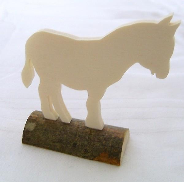Tischkarte Holz Namensschild Esel Sperrholz auf Naturstamm