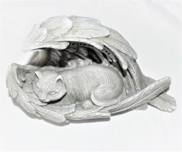 Grabschmuck Katze 19x12cm, grau