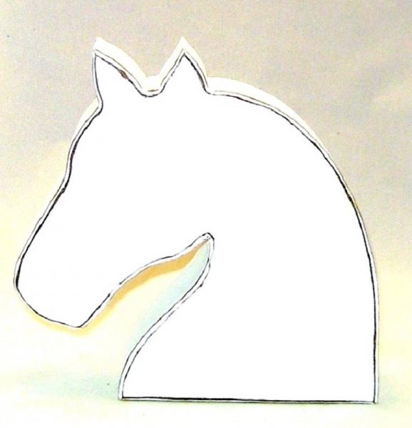 Pferdekopf, Dekofigur MDF-Holz weiß im Shabby Chic Stil