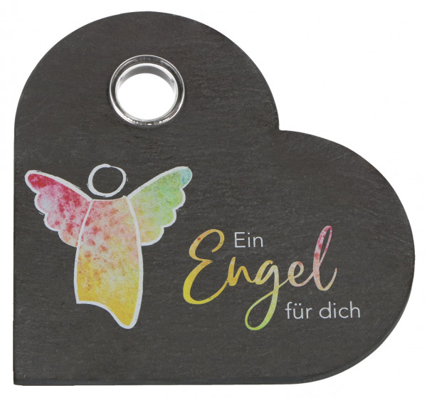 Schiefertafel Herzform m. Glasvase - Ein Engel für