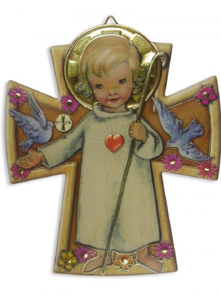 Bild Engel mit Herz u. Stab in Kreuzform 12x10 cm