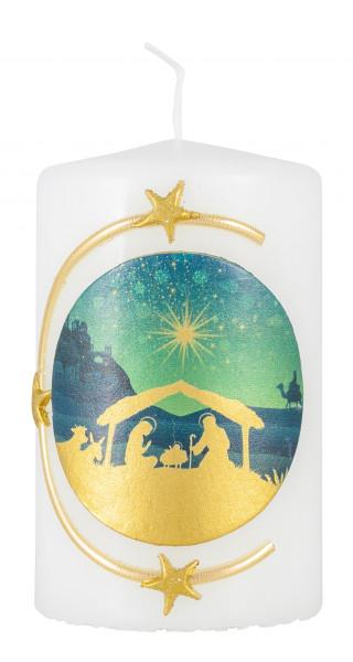 Weihnachtskerze, Kerze mit Krippenmotiv blau/gold