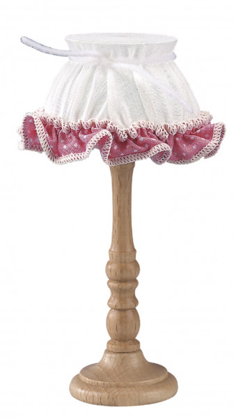 Puppenhaus Mini Stehlampe 3,5V mit Stoffschirm und Borte rosa