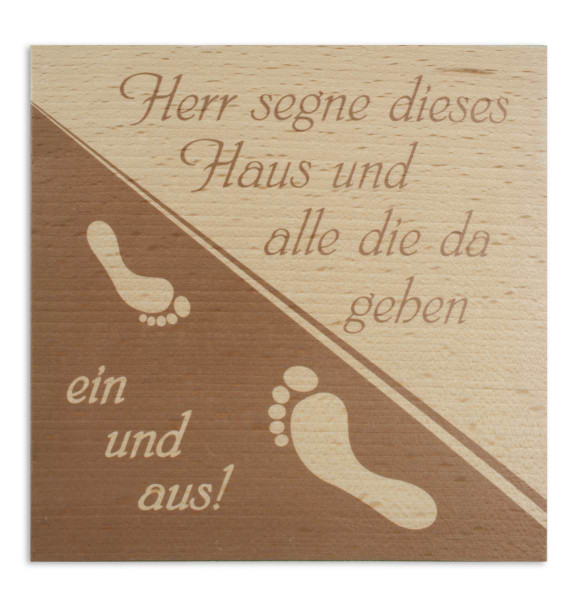 Haussegen Holz bedruckt, Motiv Fußabdruck 51/26