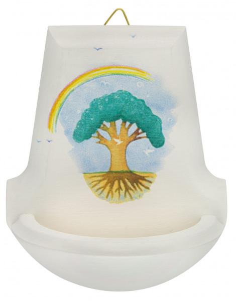 Weihbecken Holz weiss Regenbogen-Baum 70/182