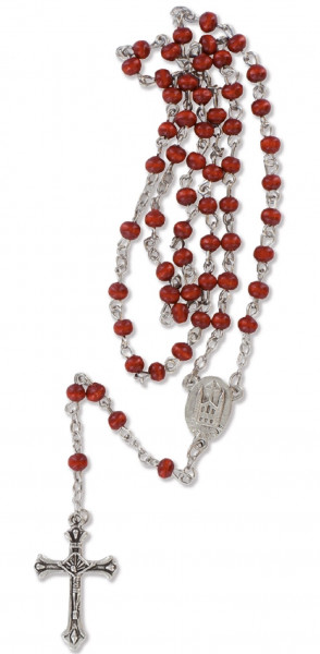 Rosenkranz gekettelt - mit rote Holzperlen