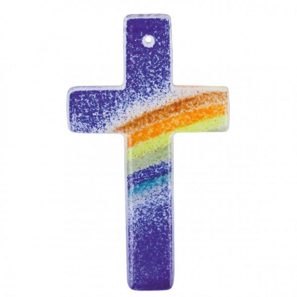 Kreuz aus Acryl - Regenbogen