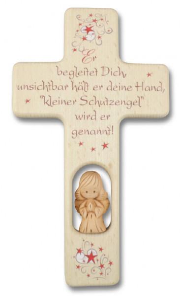 Kinderkreuz Holz mit Tonengel Spruch Er begleitet...natur