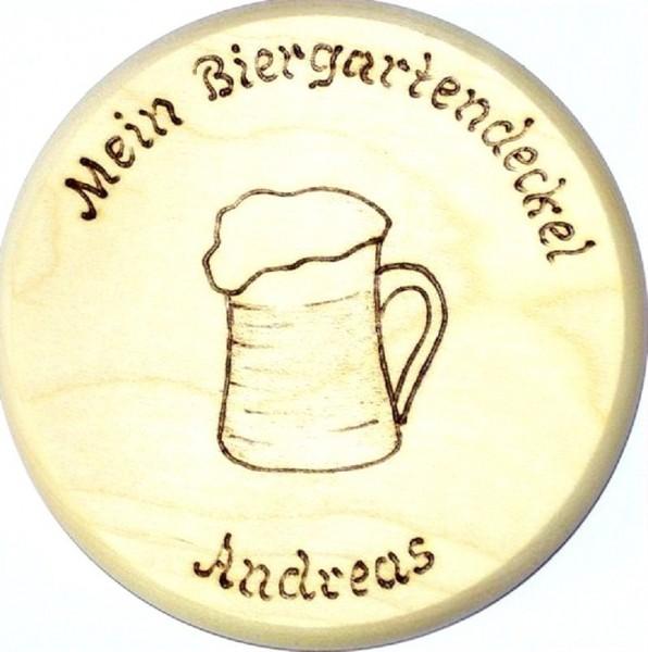 Bierdeckel Holz Brandmalerei Bierkrug Text + Wunschname
