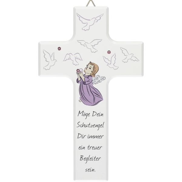 Kinderkreuz Holz weiß mit Motiv Schutzengel lila-weiß