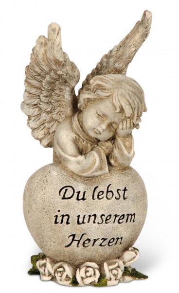 Engel an Herz lehnend, Du lebst in unserem Herzen
