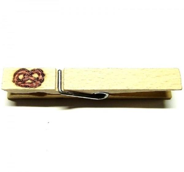 Wiesnglupperl, Holzklammer mit Motiv Breze, einseitig