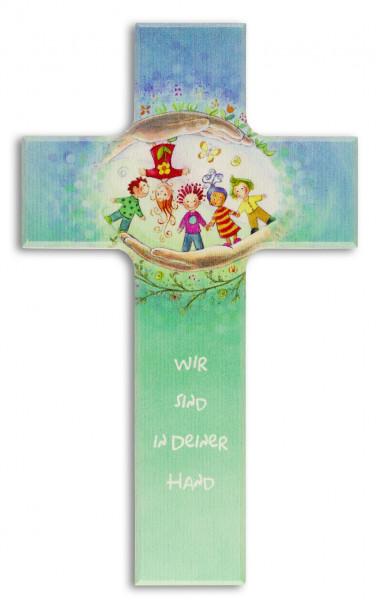 Kinderkreuz Holz, Motiv Wir sind in deiner Hand