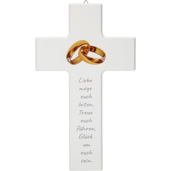 Hochzeitskreuz Holz, weiß, Ringe-Liebe möge euch
