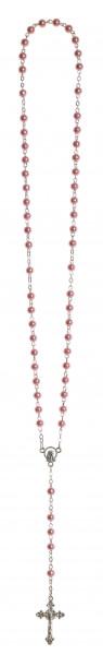Rosenkranz lang - Wachsperle rosa - gekettelt